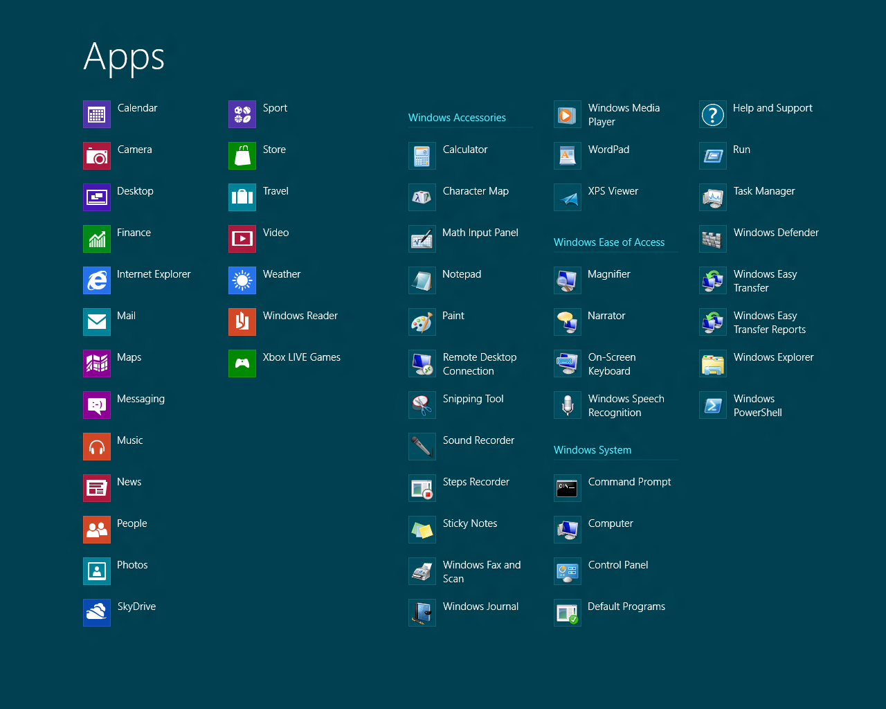 Windows 8 also includes an 'App' section of the Metro screen that has echoes of the old Start Menu