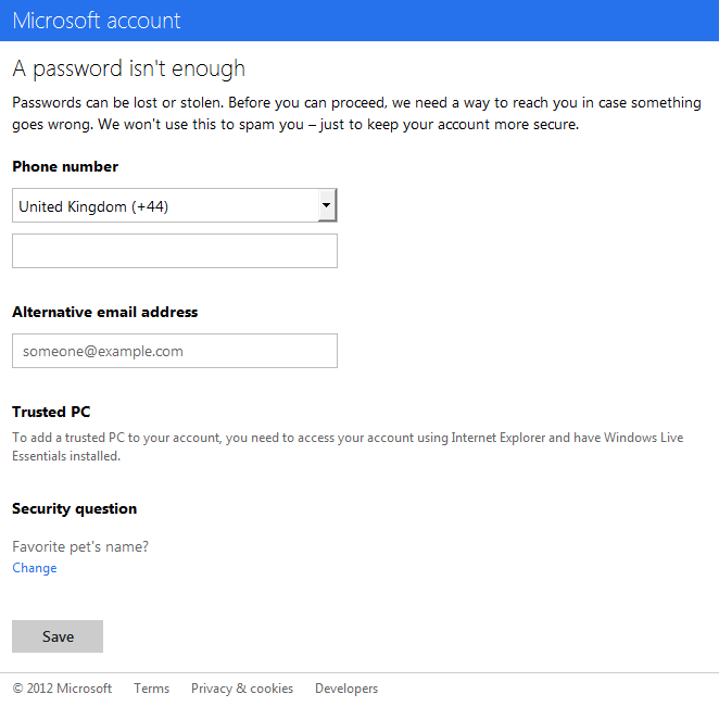Hotmail Additional Security