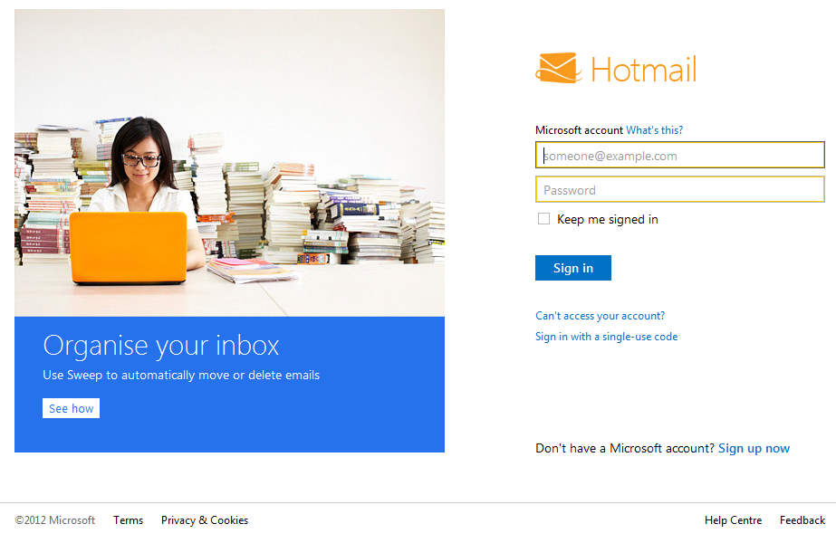 New Hotmail Login Screen