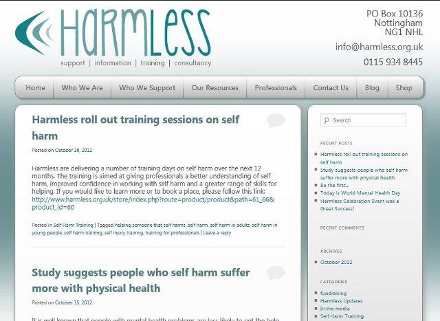 Harmless Blog Screenshot